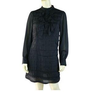 Jenny Han Silk Dress S Black Half Button Ruffle